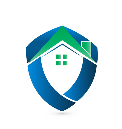 Shield green house -Real Estate icon vector  Illustration