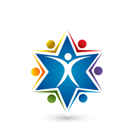 Leader star teamwork concept icon symbol vector