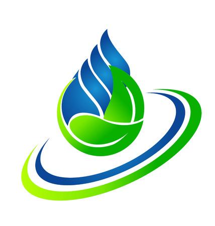 Vector de la gota de agua y hojas verdes icono Ecología concepto