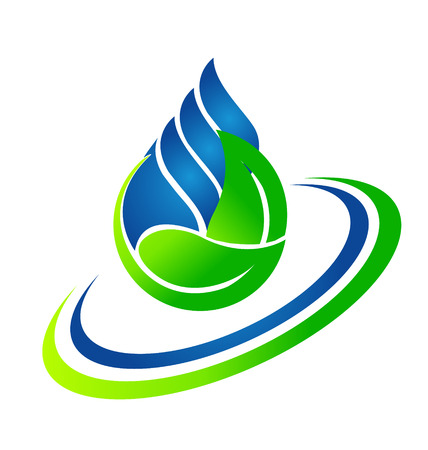 Vector of water drop and green leafs  Ecology concept icon Çizim