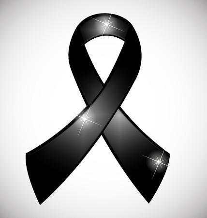 Black ribbon awareness symbol vector