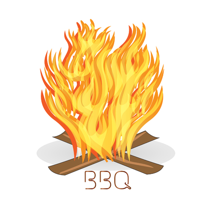 bonfire: Barbecue fire flames icon vector