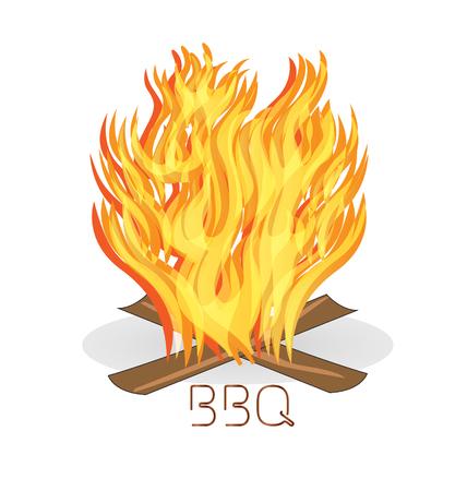 Barbecue fire flames icon vector  Vector