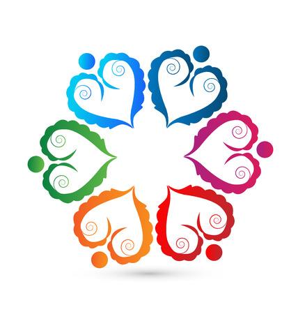 Teamwork swirly union hearts icon Vector