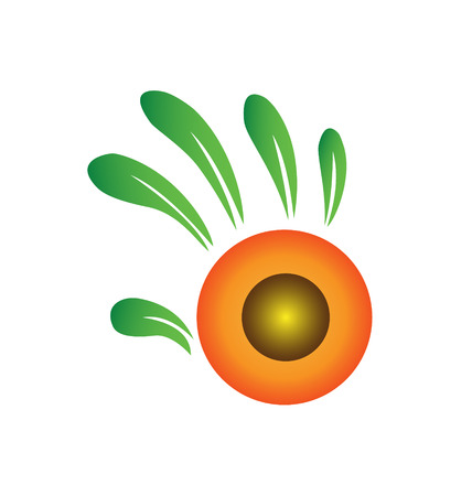 Hand as a sunflower icon vector Illustration