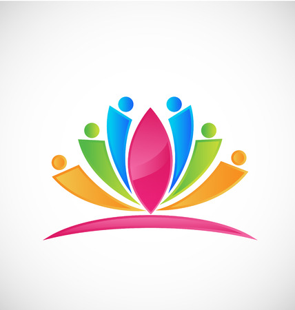 asian business people: Lotus rainbow flower people icon
