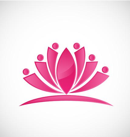 Lotus flower people icon Illustration