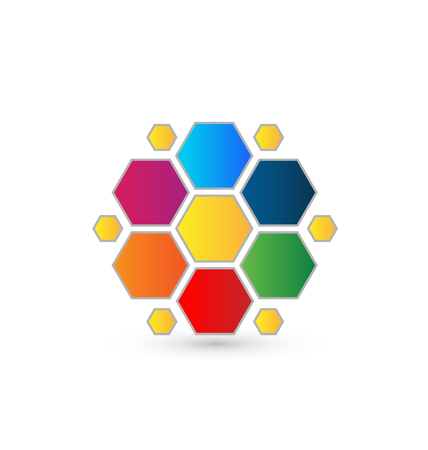 Abstract colorful hexagon design icon vector Vector
