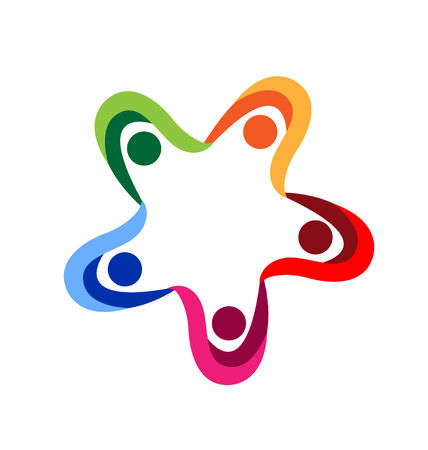 together voluntary: Teamwork diversity people holding hands vector icon Illustration