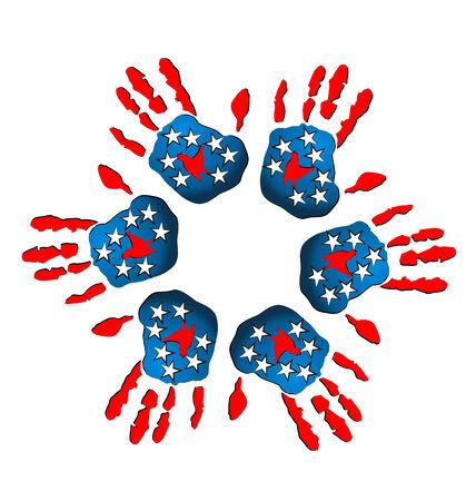 gönüllü: Takım ABD bayrağı simgesi illüstrasyon eller Çizim