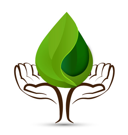 Hands with water drops leaf vector icon  Illustration