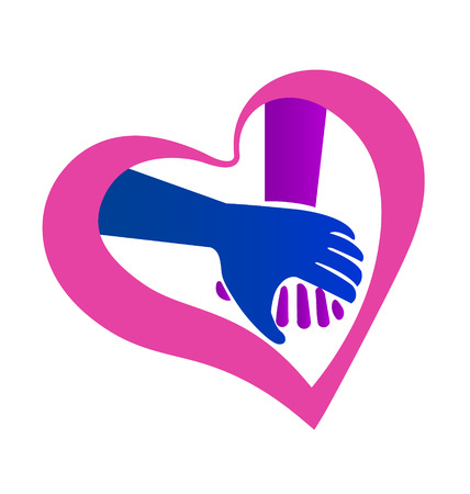 Holding hands heart shape valentines symbol icon vector Vector