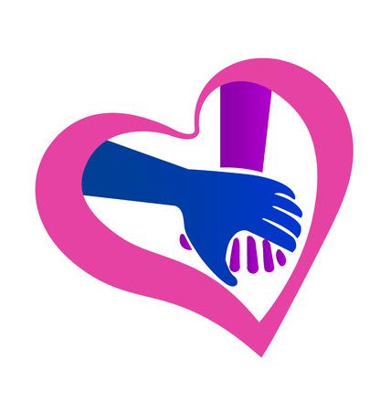 soins mains: Symbole valentines forme tenant par la main de coeur ic�ne vecteur