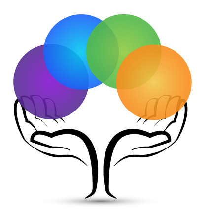 Hands tree shape with colored circles icon Vector