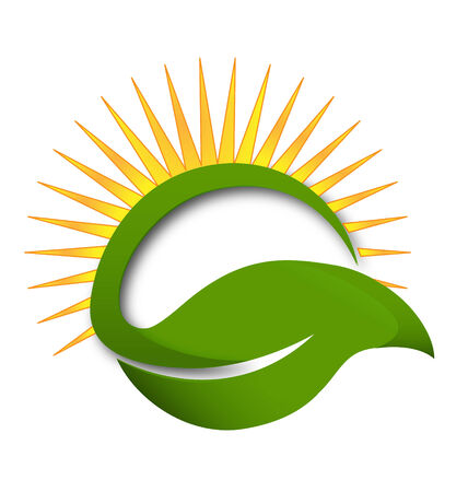 Green leaf and sun wellness concept icon vector Vector