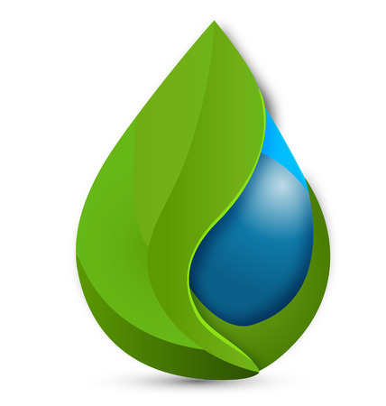 Leafs and water drop vector icon