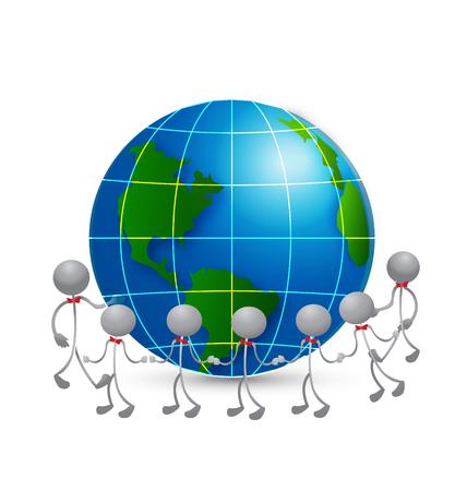 Team around world vector icon Vector