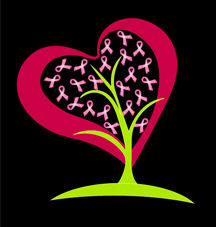 Tree pink heart with breast cancer ribbons vector
