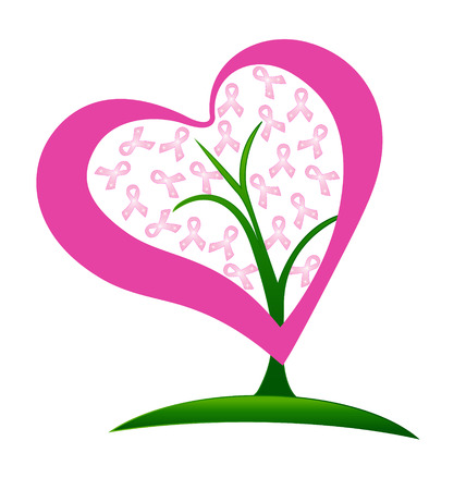 Breast cancer ribbons heart tree vector Illustration