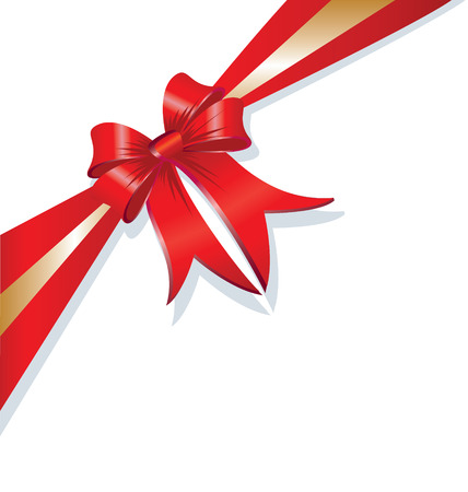Vector christmas gift bow and ribbon Vettoriali