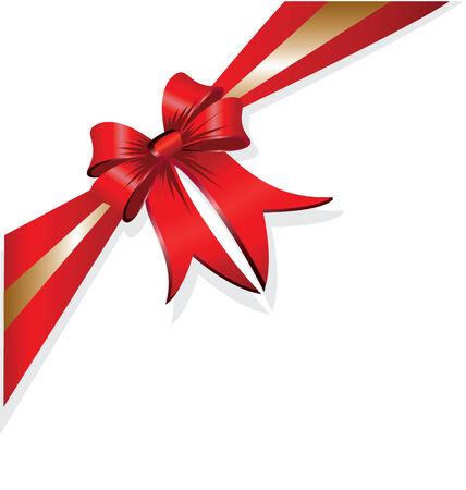 Rood en goud vector kerst cadeau boeg en lint Stock Illustratie