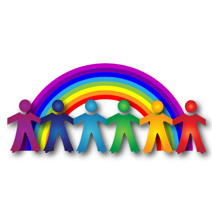 Children around rainbow icon vector