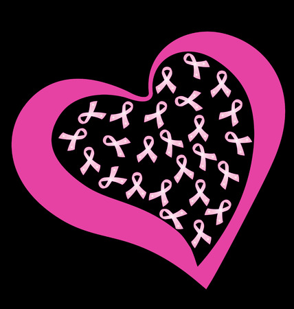 Breast cancer ribbons in a heart vector