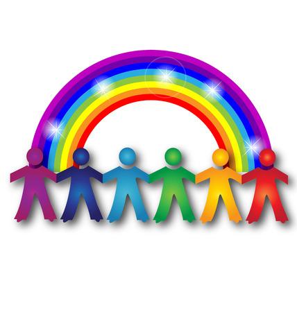 arco iris vector: La gente del trabajo en equipo y el arco iris resplandor vector