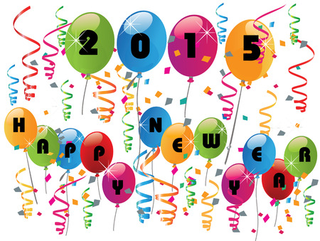 2015 Happy New Year Balloons and Confetti background