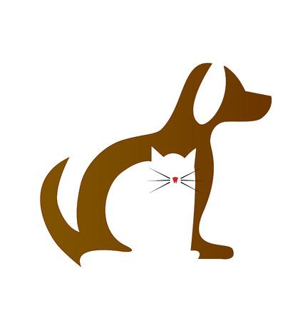 Perro y gato siluetas icono veterinaria