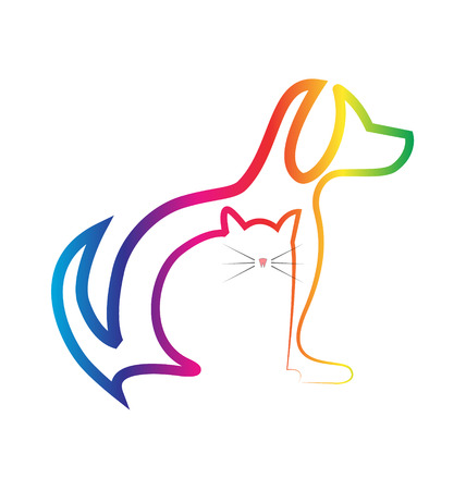 Hunde-und Katzen-Silhouetten Tiersymbol
