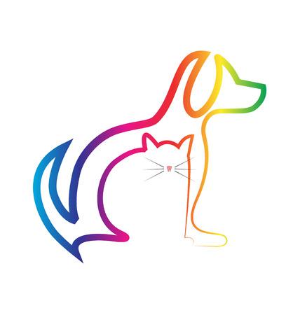 Hond en Kat silhouetten veterinaire icoon