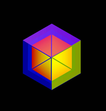 Colored Cube abstract figure icon Vector