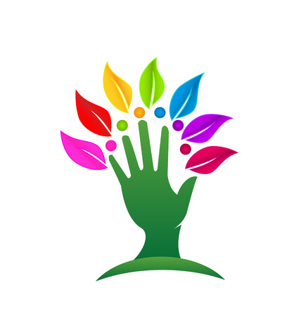 Hand with colored leafs icon concept  Vector