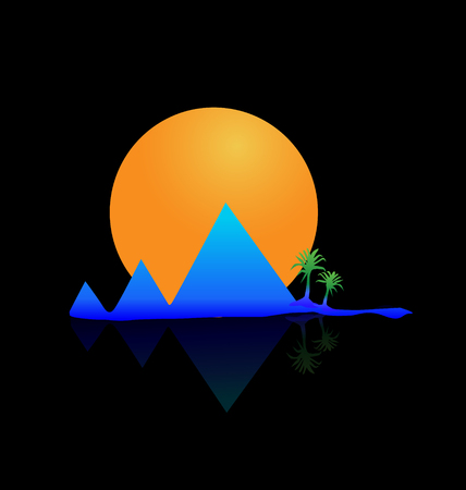 Mountains sun and palms background Vector