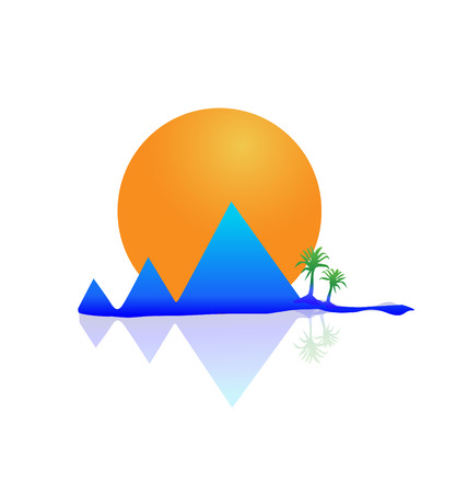 Mountains sun and tree palms Vector