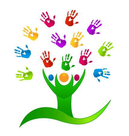Boom mensen met gekleurde handen icoon Stock Illustratie