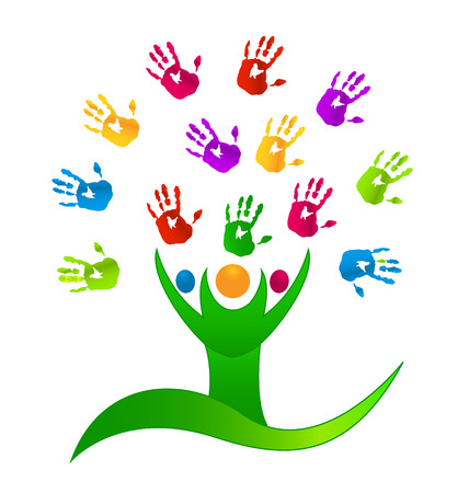 Tree people with colored hands icon