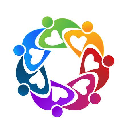 Teamwork hearty people flower