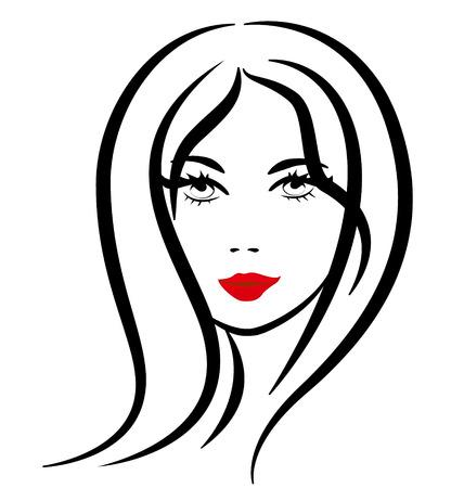 Pretty woman silhouette vector