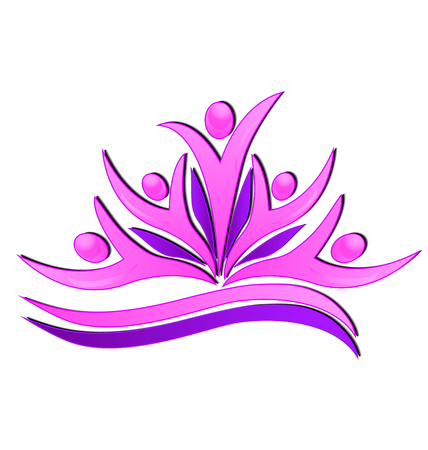 Pink flower teamwork people icon design Vector