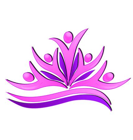 Pink flower teamwork people icon design