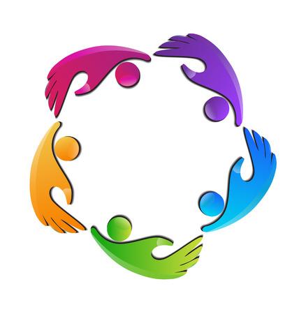 Hands figures teamwork business icon Vector
