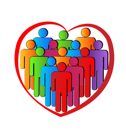 People in a heart symbol of teamwork charity solidarity lovely protective and friendly vector icon Vector