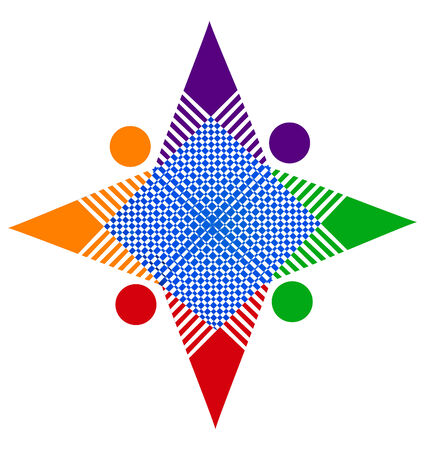 vivid colors: Teamwork abstract star in vivid colors unity concept icon vector