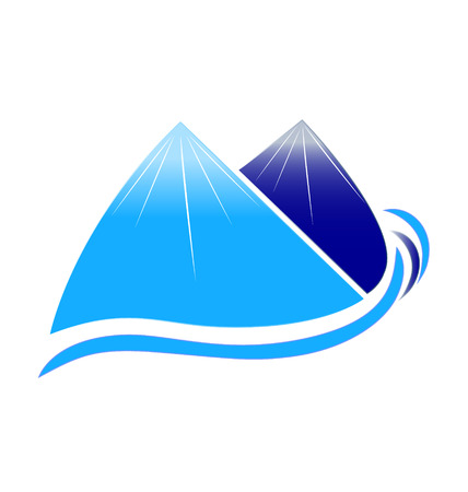Mountains snow and waves vector icon design company Vector