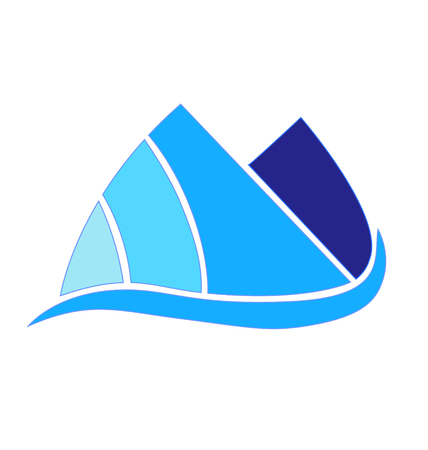 Blue mountains icon vector design company