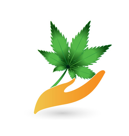 Hand and leaf cannabis plant vector icon logo