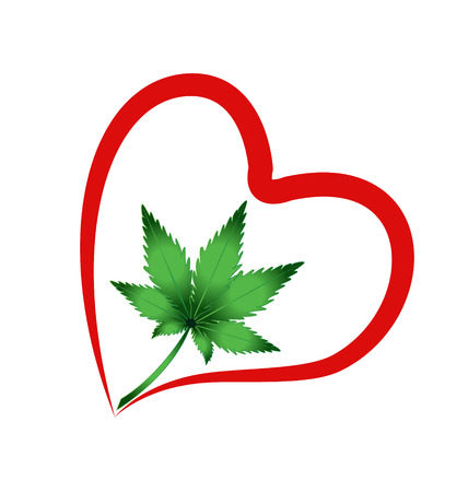 Heart and leaf cannabis plant vector icon logo