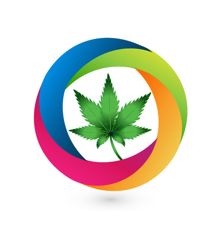 Cannabis leaf icon vector design Vettoriali